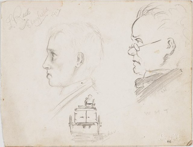 An image of recto: Young man, Man in glasses, W.M.T., and Our baker verso: Cricketer and Profile of the cricketer