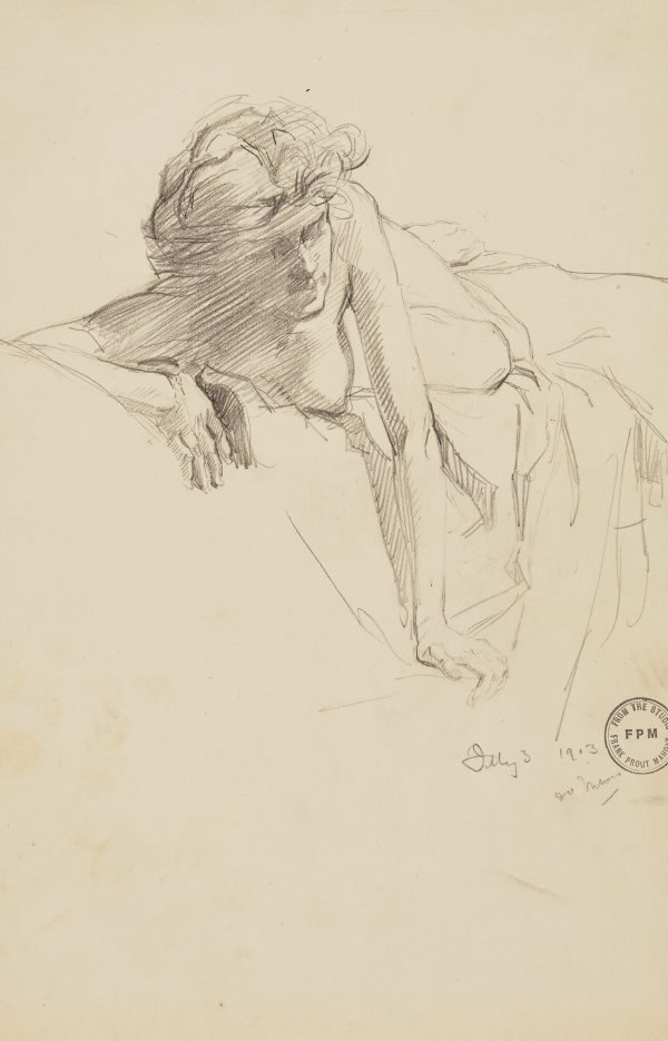 An image of Untitled (Recling female nude, arms extended)