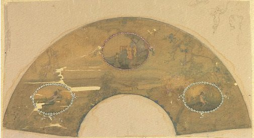 An image of Cameo fan by Charles Conder