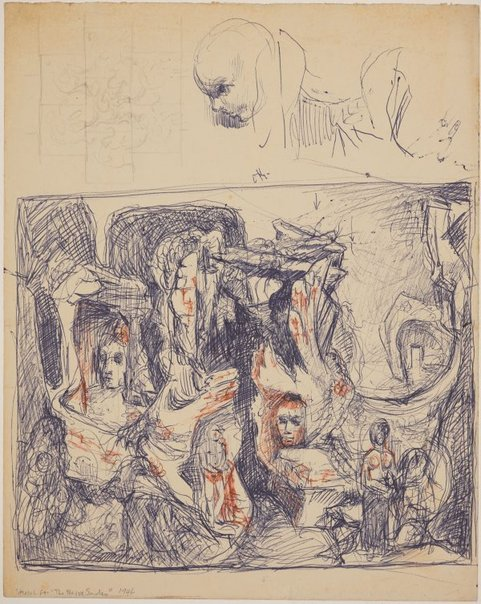 An image of recto: (Compositional study) verso: (Three compositional studies) by James Gleeson