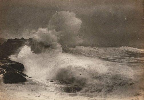 An image of Untitled (Seascape - wave crashing onto rocks) by Francis J Mortimer