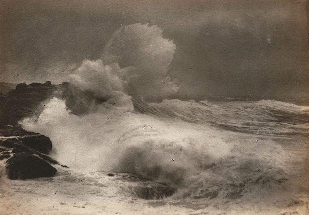 An image of Untitled (Seascape - wave crashing onto rocks)