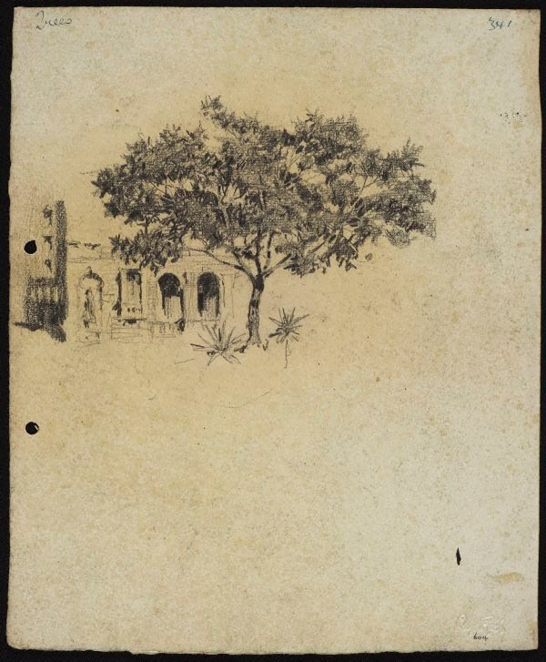 An image of recto: Corner of the Lands Department Building verso: Rocky landscape with figures