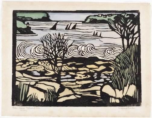 An image of Rocks and waves by Margaret Preston