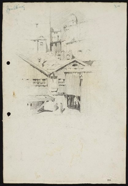 An image of recto: City view with workshops verso: Landscape with pointed hill [top] and Sketch of landscape with pointed hill [bottom] by Lloyd Rees