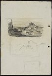 Alternate image of recto: City view with workshops verso: Landscape with pointed hill [top] and Sketch of landscape with pointed hill [bottom] by Lloyd Rees