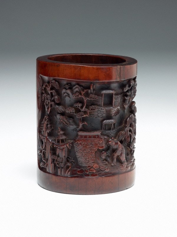 An image of Large bamboo brush pot decorated with a scene from 'Sima Guang Breaking the Water Urn to save his friend' in high relief; a carved Tang dynasty poem by Zhang Ji (c.756-c.779)