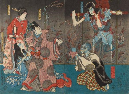 An image of The actors Ichikawa Kodanji IV as the ghost of Kozakura Tōgō and as the tea server Inba, in reality the ghost of Tōgō (R), Bandō Hikosaburō IV as Orikoshi Tairyō (C), Iwai Kumesaburō III as Katsuragi, and Ichikawa Kodanji IV as Koshimoto Sakuragi, in reality the ghost of Tōgō (L) by Utagawa Kuniyoshi
