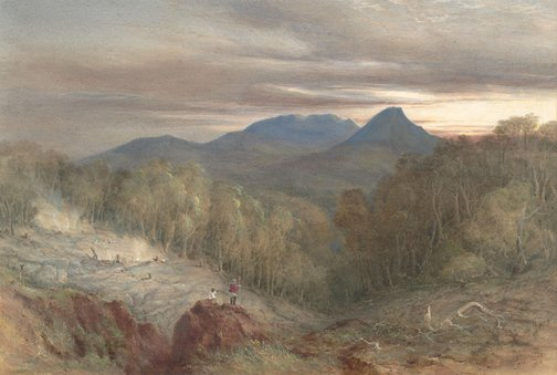An image of Burning mountain (Mount Wingen, near Scone) by Conrad Martens