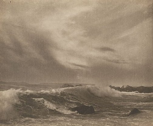 An image of Untitled (seascape, rock foreground) by Francis J Mortimer