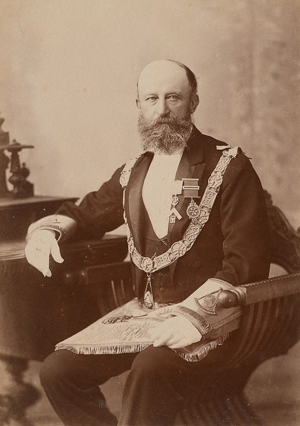An image of Untitled (portrait of a man seated, dressed in Freemason ceremonial costume)