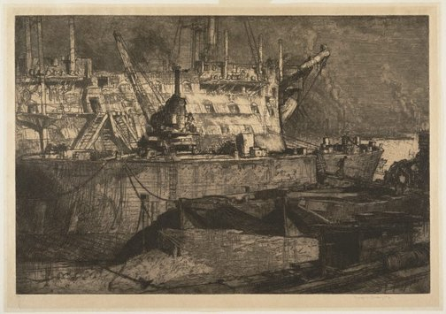 An image of Breaking up the Caledonia by Sir Frank Brangwyn