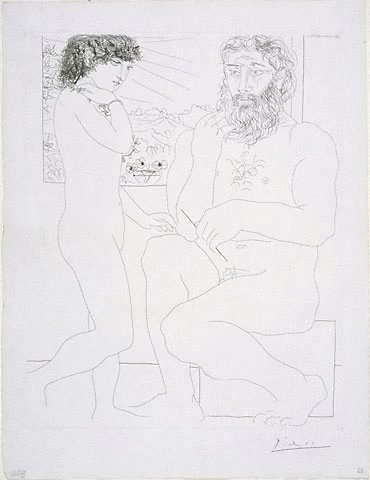 An image of Sculptor and standing model by Pablo Picasso