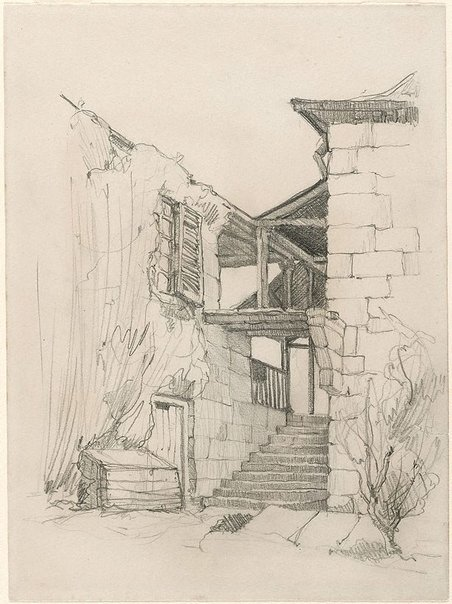 An image of Study for etching 'Old steps, Hunters Hill' by Donald Friend