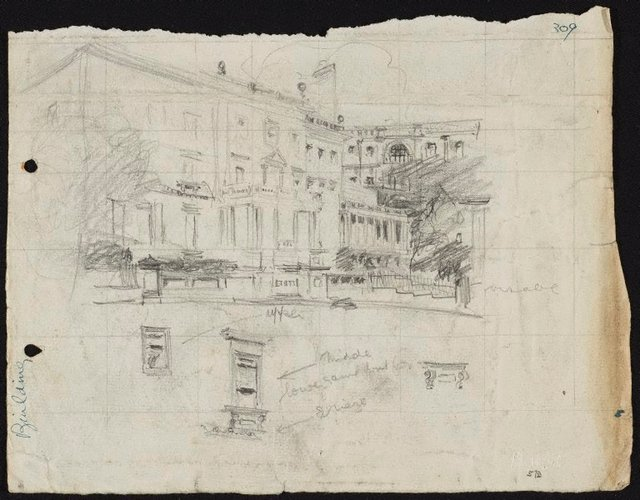 An image of recto: The Union Club, 2 Bligh Street, Sydney verso: Composition sketch of hill with houses