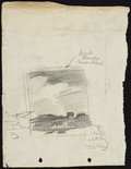 Alternate image of recto: The Union Club, 2 Bligh Street, Sydney verso: Composition sketch of hill with houses by Lloyd Rees