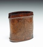 Alternate image of Bamboo brush pot decorated with landscape and pavilion in low relief by