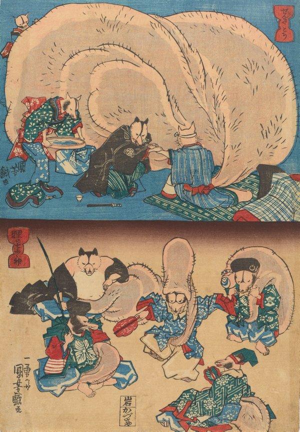 An image of A sick tanuki (Tanuki no senkimochi) (above) and Tanuki as the seven gods of good fortune (Tanuki no shichifukuijin) from an untitled series of tanuki (raccoon-dogs)