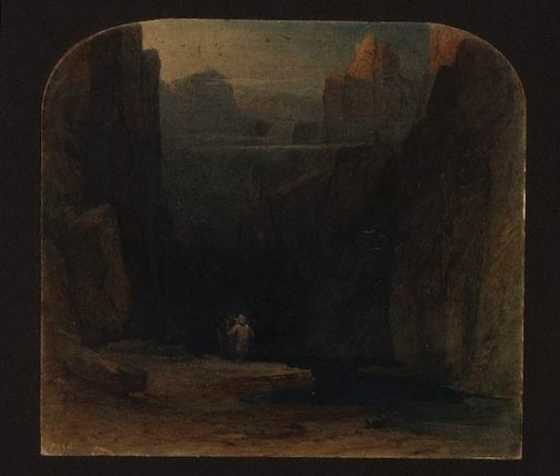 An image of Figure in a ravine by Henry George Hine