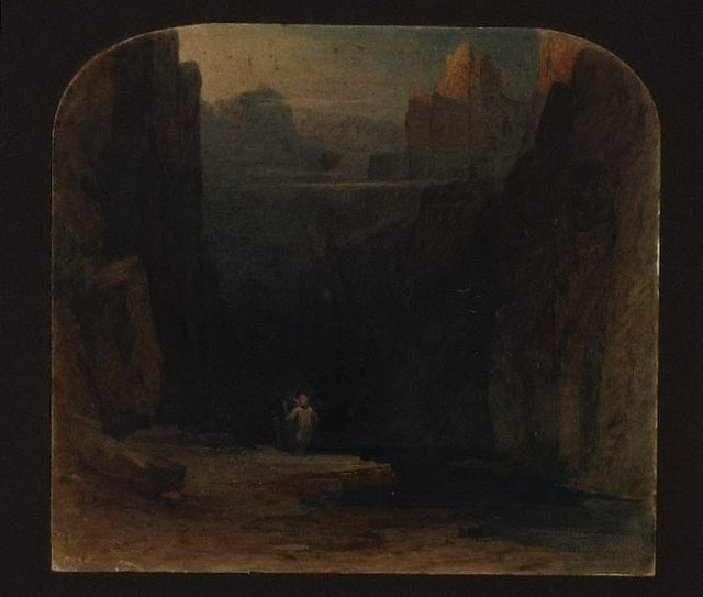 An image of Figure in a ravine