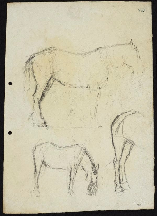 An image of recto: Three horse studies verso: Horse with nosebag and Horse (head unfinished)