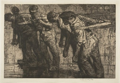 An image of The tow rope by Sir Frank Brangwyn