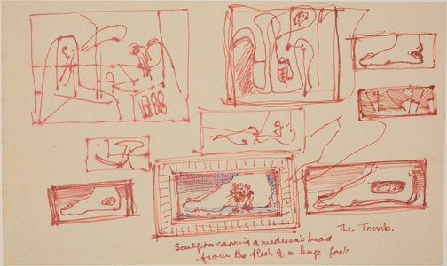 An image of Studies for 'The Tomb' by James Gleeson