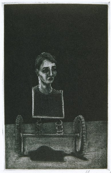 An image of (Untitled / bust on wheels) by Geoffrey Ricardo