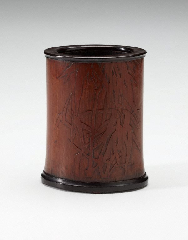 An image of Bamboo brush pot decorated with bamboo motif and Chinese verses in low relief