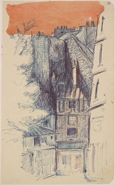 An image of Three sketchbook studies, Paris (Small house) by James Gleeson