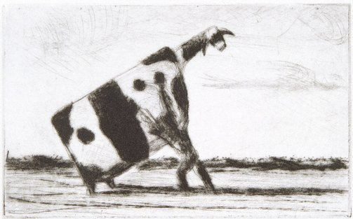 An image of Man lifting cow by John Kelly