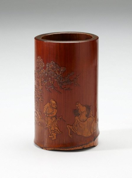 An image of Bamboo brush pot decorated with landscape in low relief by