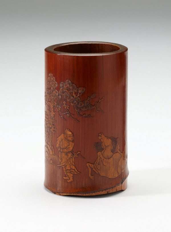 An image of Bamboo brush pot decorated with landscape in low relief