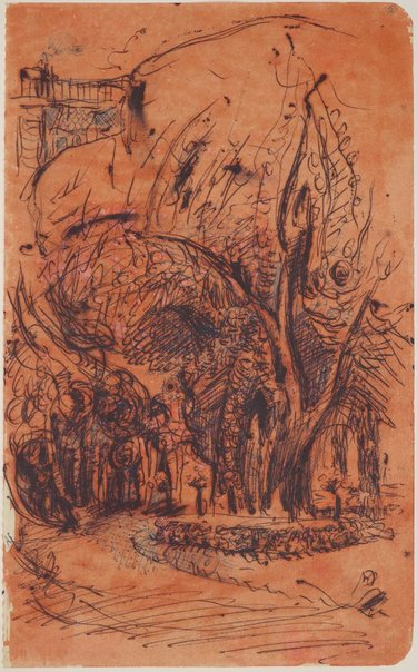 An image of Three sketchbook studies, Paris (Tree studies) by James Gleeson
