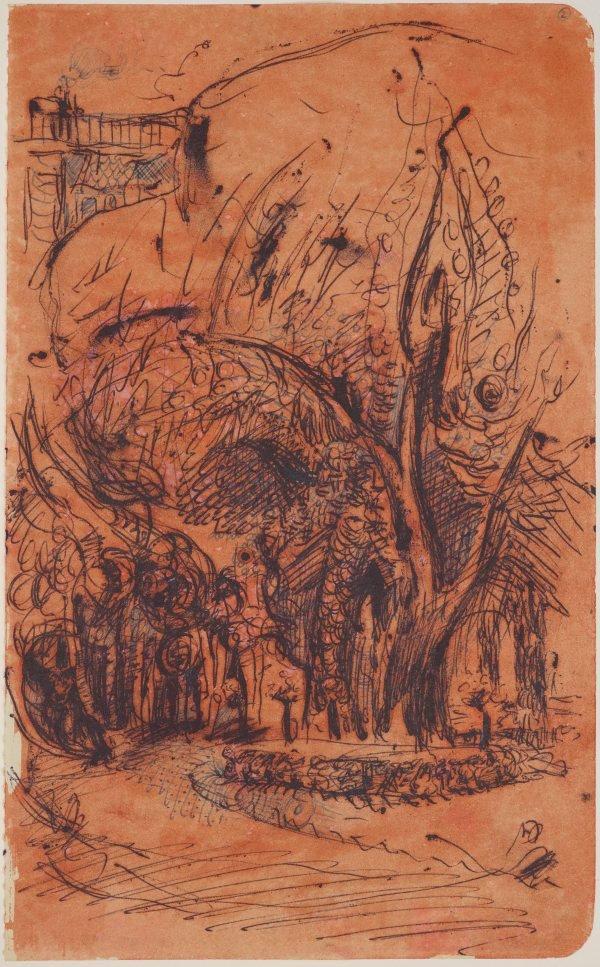 An image of Three sketchbook studies, Paris (Tree studies)