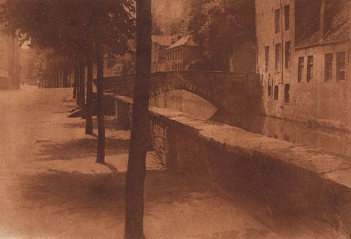 An image of Untitled (Street scene with bridge over canal) by Francis J Mortimer