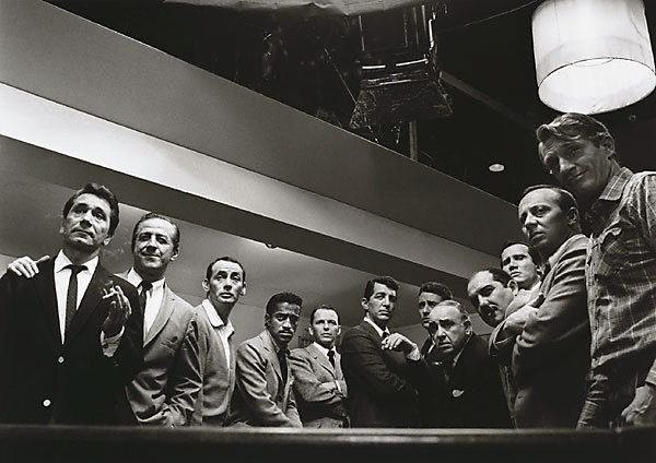 """An image of Cast of """"Ocean's 11"""" left to right; Nick Conti, Jerry Lester, Joey Bishop, Sammy Davis Jr., Frank Sinatra, Dean Martin, Peter Lawford, Akim Tameroff, Richard Benedict, Henry Silva, Norman Fell and Clem Harvey"""