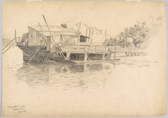 An image of A squatter's home, Berry's Bay, Sydney