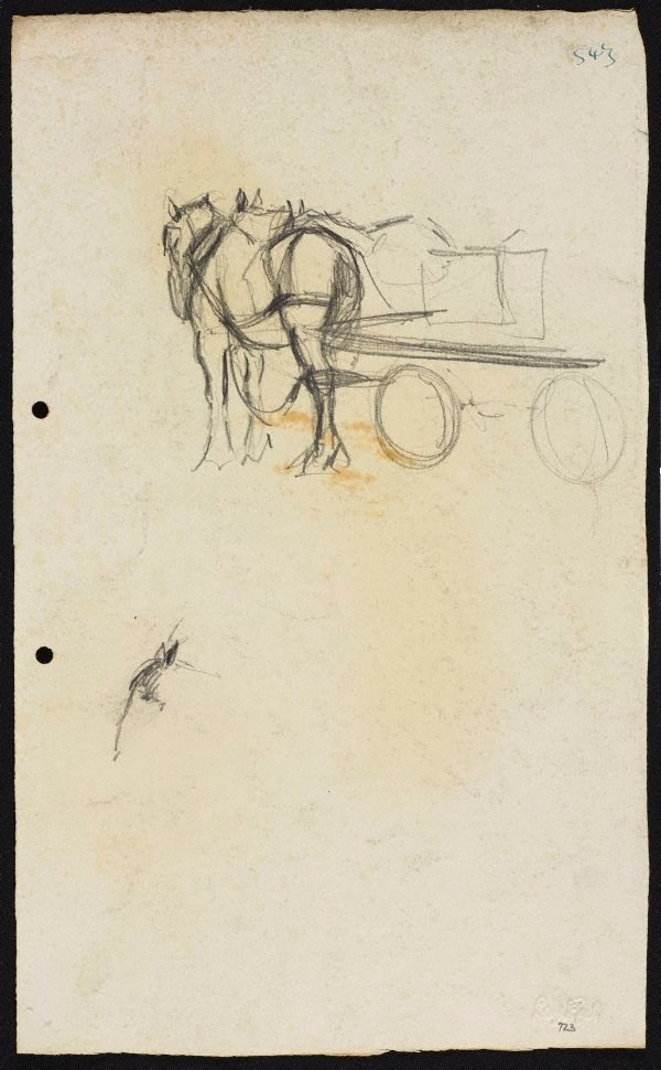 An image of recto: Horses with dray verso: Horse studies [sideways]