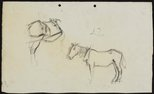 Alternate image of recto: Horses with dray verso: Horse studies [sideways] by Lloyd Rees