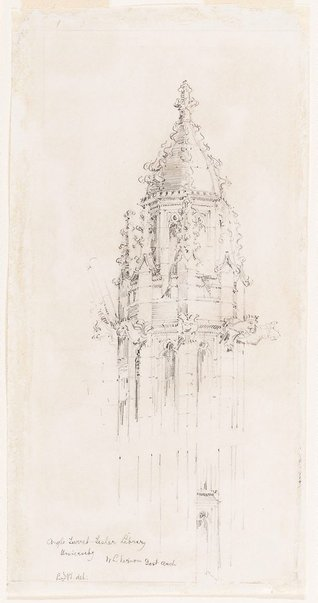 An image of Angle turret, Fisher Library, University, N.L Vernon Govt. Arch. by Mr B.J. Waterhouse