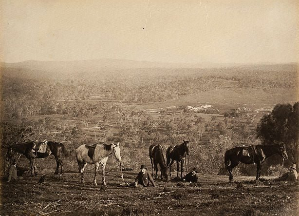 An image of Homestead in distance, men and horses resting in foreground