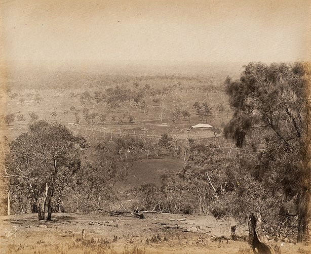 An image of View of shearing shed in the distance