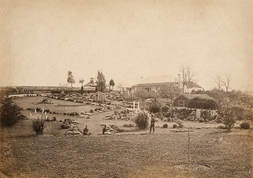 An image of Homestead and garden (middle distance) by Charles Bayliss