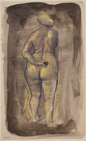 An image of Studies of the nude (Female nude, back view) by James Gleeson
