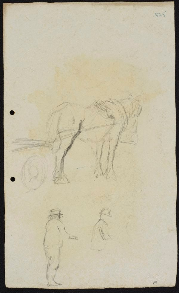 An image of recto: Horse and dray [top] and Two men [bottom] verso: Two horses
