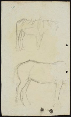 Alternate image of recto: Horse and dray [top] and Two men [bottom] verso: Two horses by Lloyd Rees