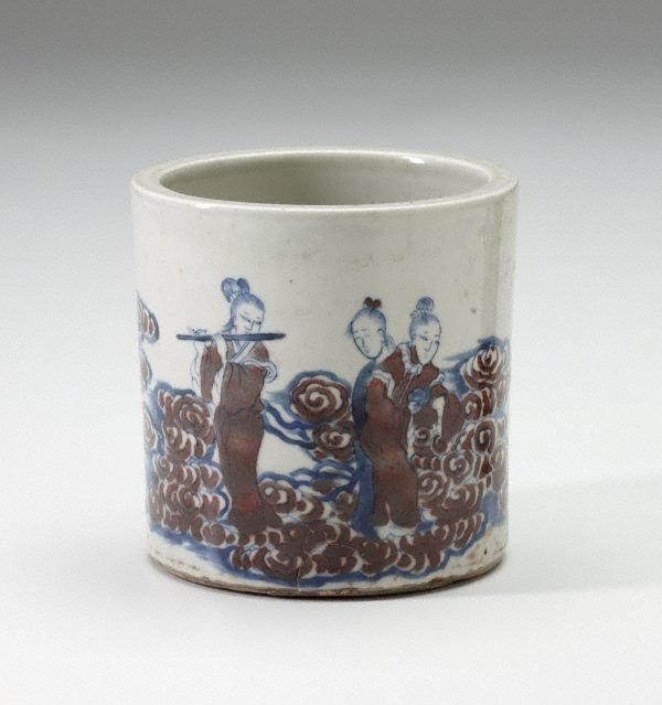 An image of Ceramic brush pot decorated with female musicians among clouds