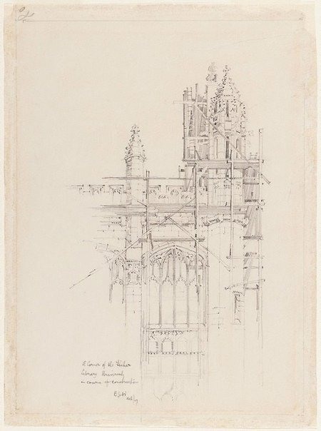 An image of A corner of the Fisher Library, University, in course of construction by Mr B.J. Waterhouse