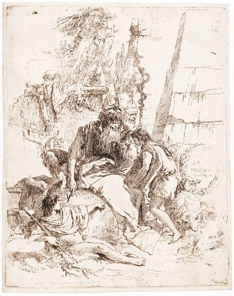 An image of Two seated magicians and two youths by Giambattista Tiepolo